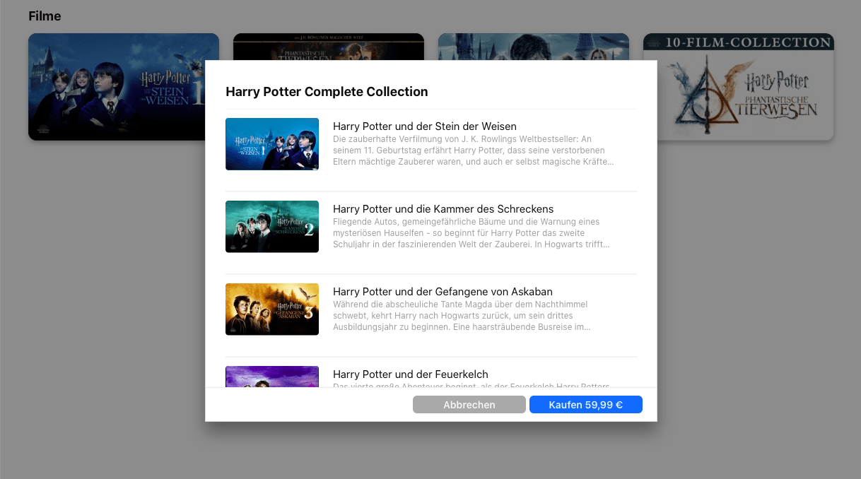 Harry Potter Netflix Apple iTunes