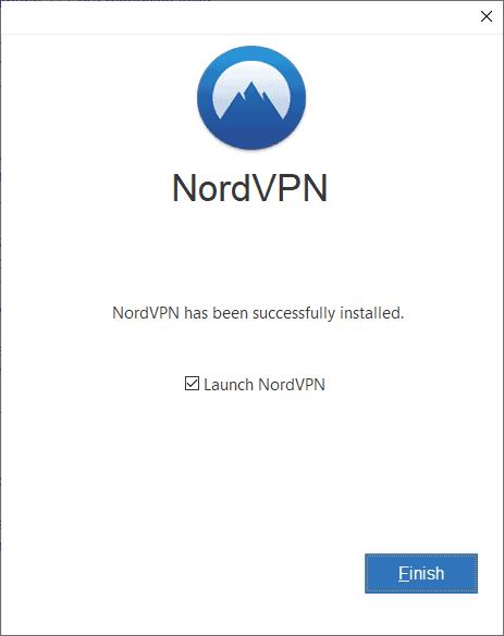 NordVPN Setup Launch Fertig