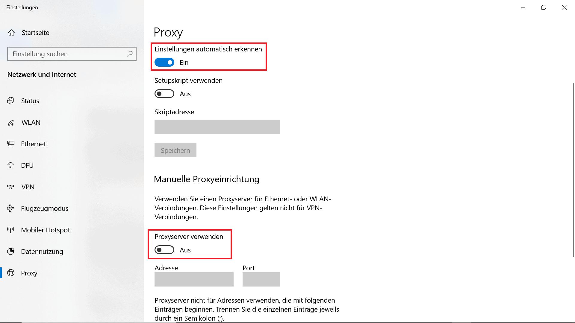 Betriebssystem Windows Proxy Deaktivieren