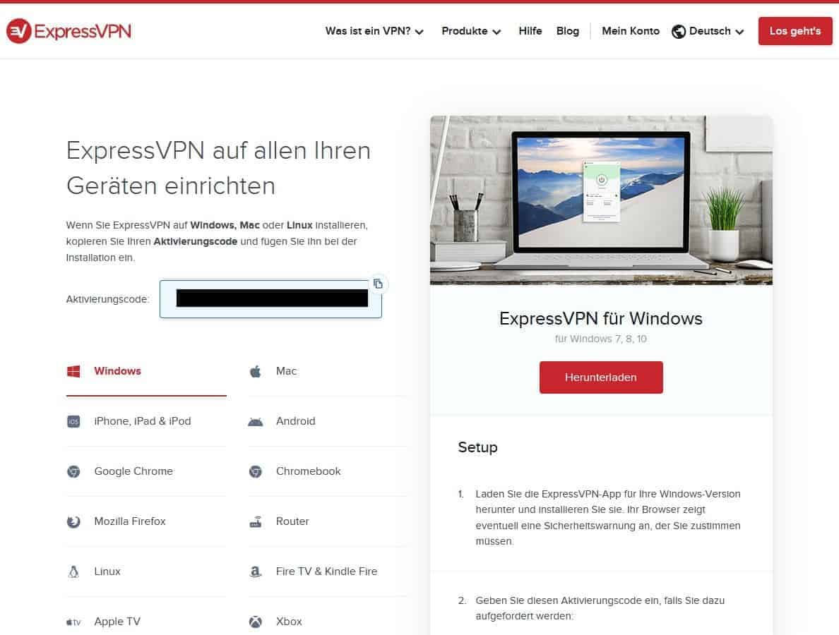 ExpressVPN Downloadseite
