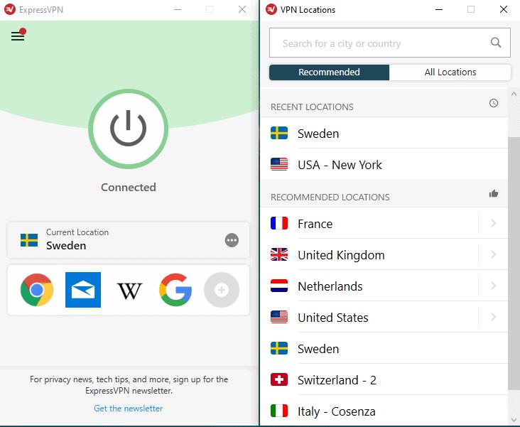 ExpressVPN Verbindung Schweden
