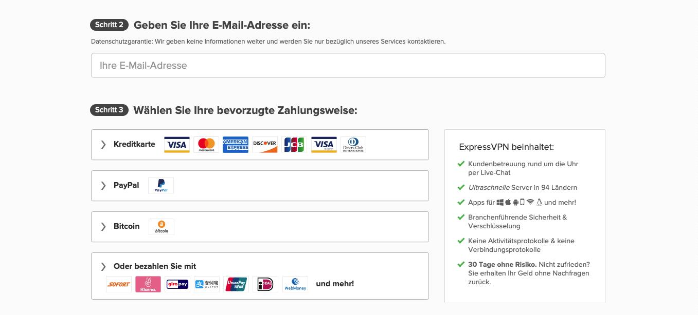ExpressVPN Zahlungsarten