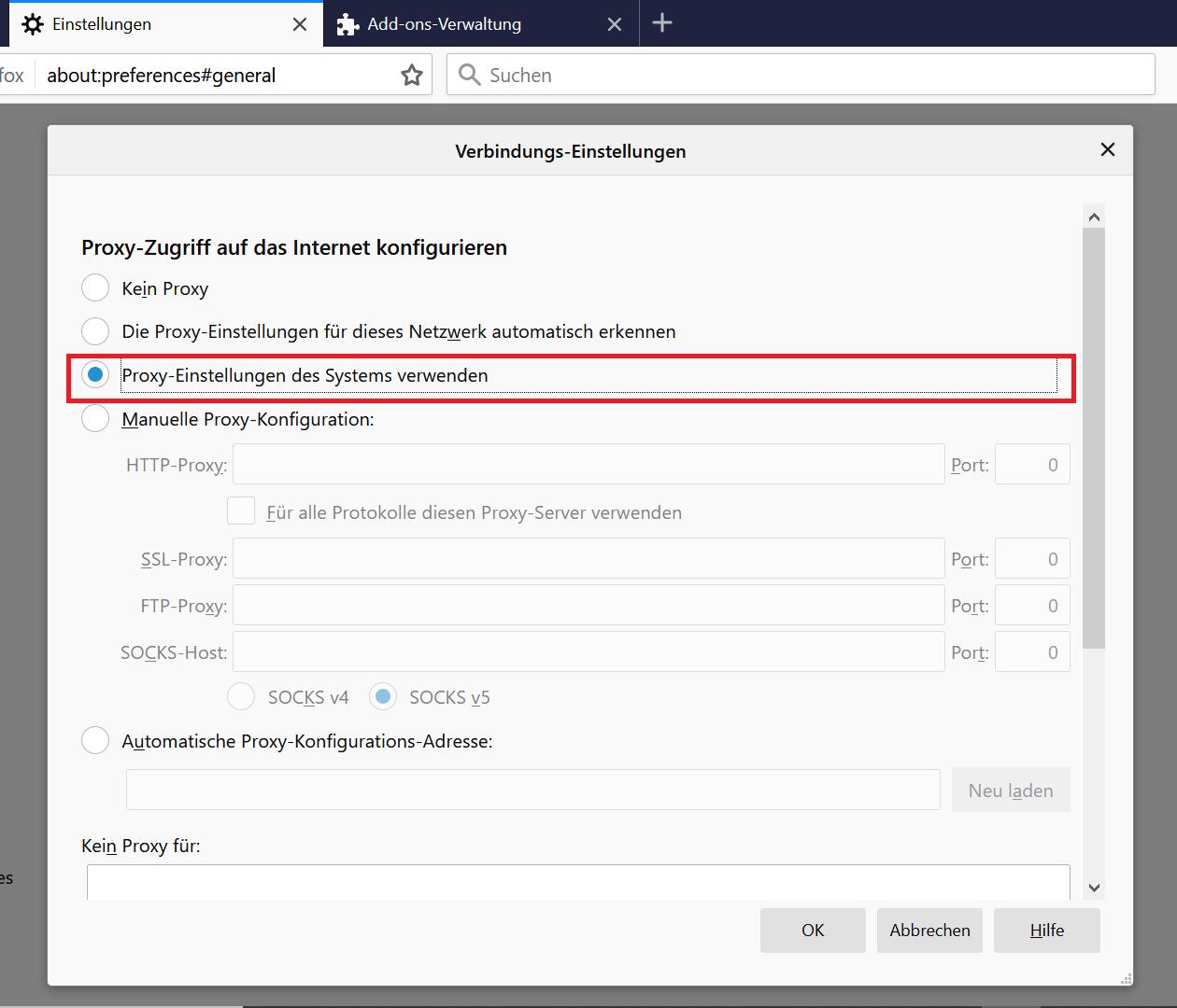 Proxy Ausschalten Firefox