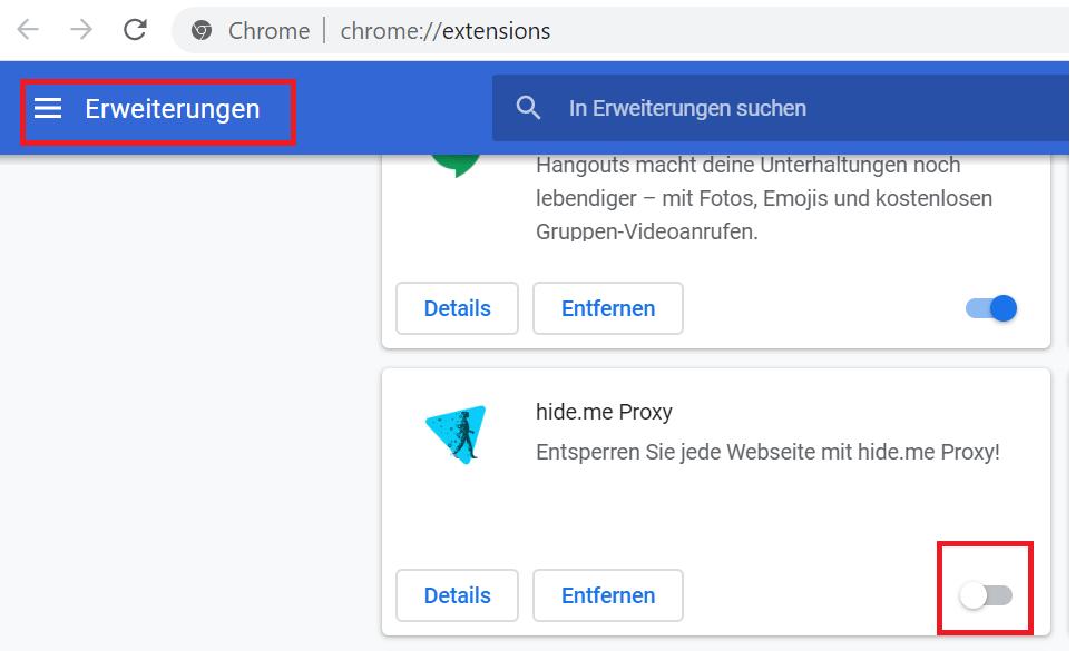 VPN Addons Deaktivieren Chrome