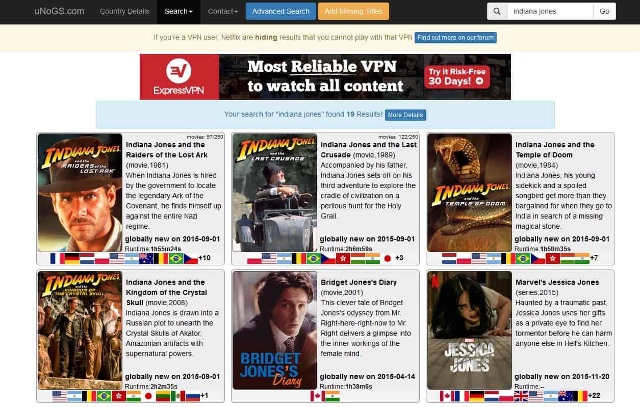 Netflix Indiana Jones Unogs