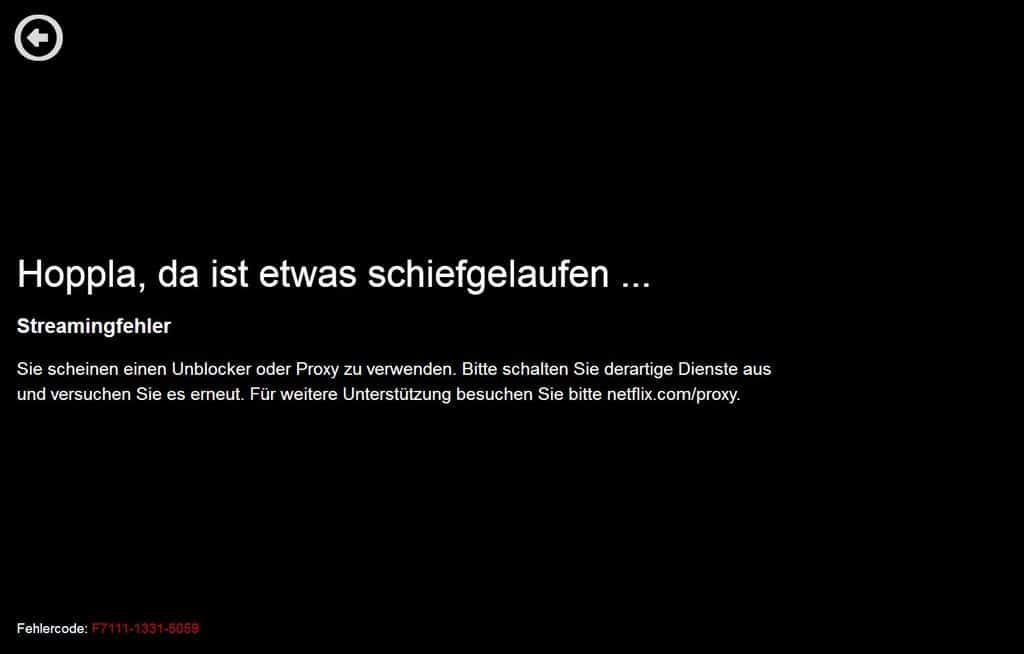 Netflix Fehlermeldung ohne VPN