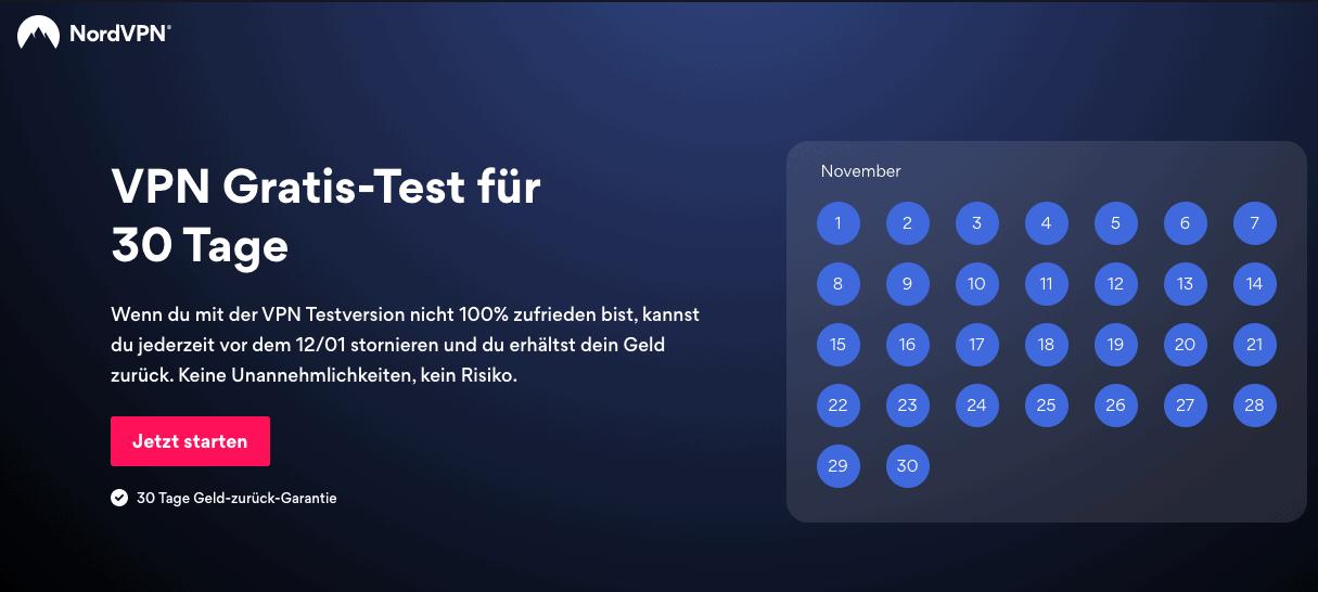 NordVPN 30 Tage Test