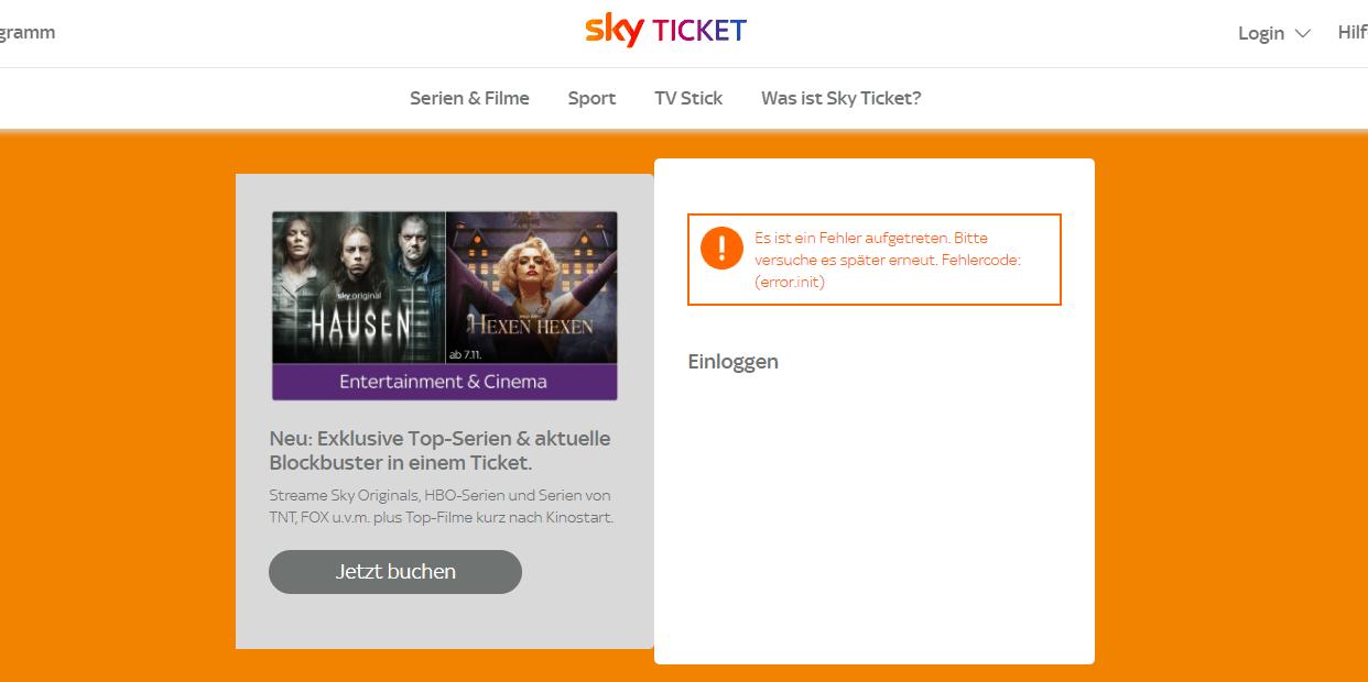 Sky Ticket im Ausland Fehlermeldung
