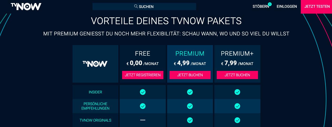 TVNOW im Ausland Preis Liste