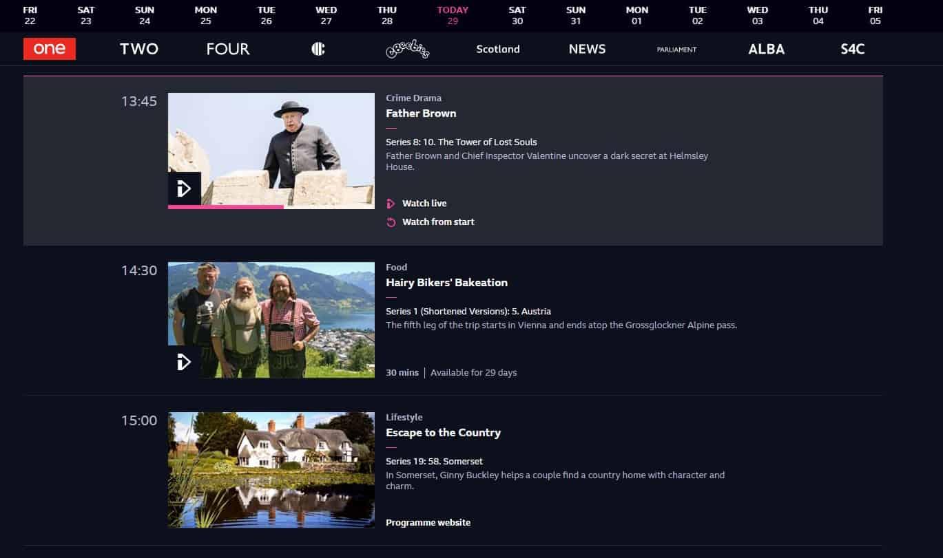 BBC iPlayer Content Uebersicht