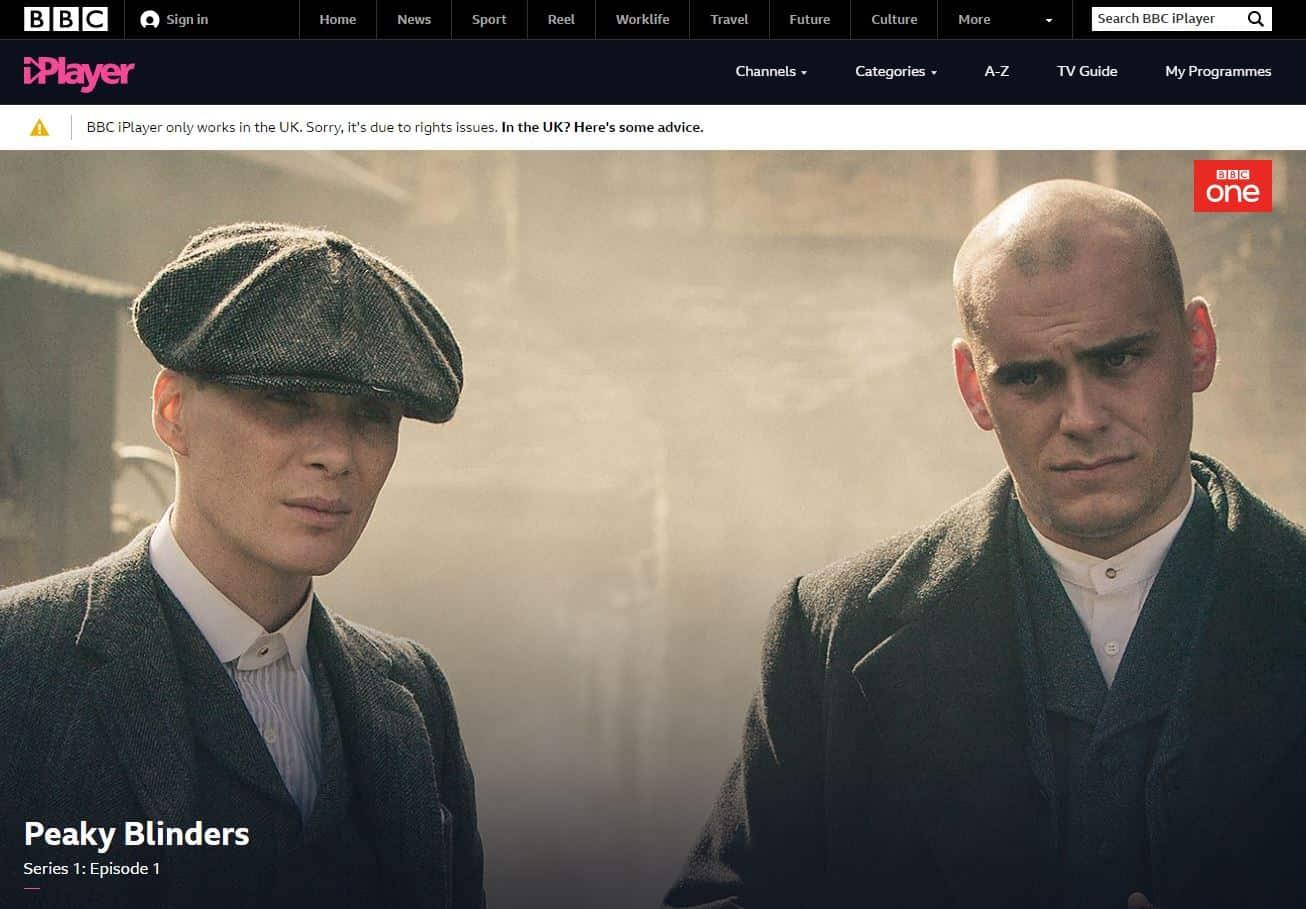 BBC iPlayer Fehlermeldung