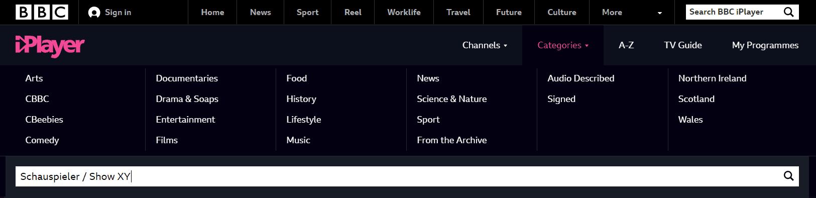 BBC iPlayer Kategorien