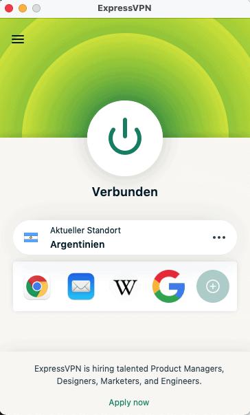 ExpressVPN Argentinien Verbunden