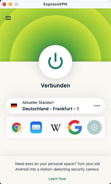 ExpressVPN Deutschland Verbunden Mobile