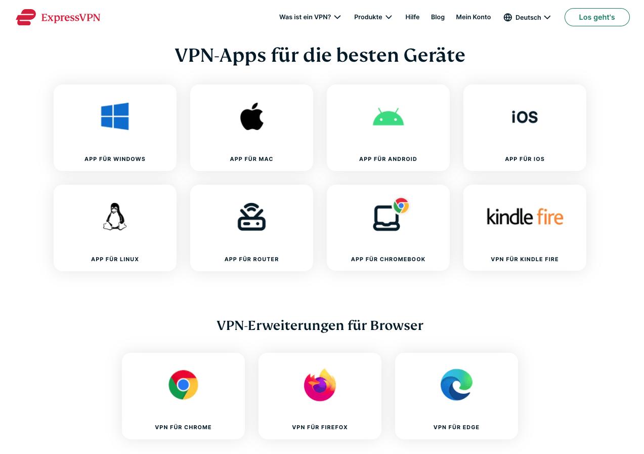 ExpressVPN Downloadseite Alle Geraete und Browser