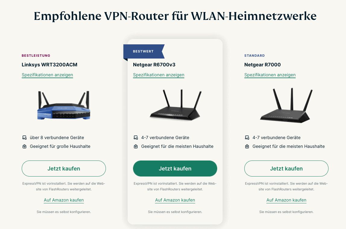 ExpressVPN Router Auswahl