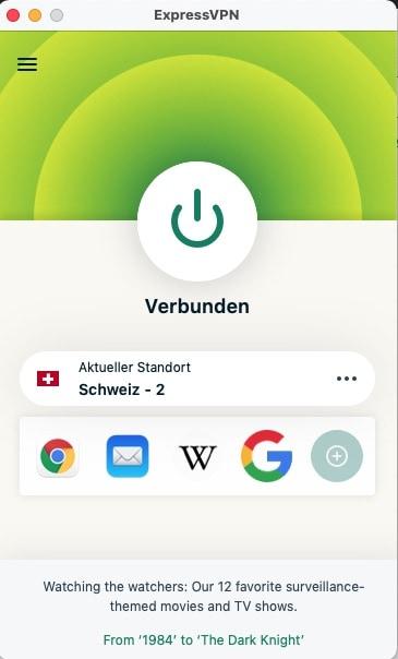 ExpressVPN Schweiz Server Verbunden