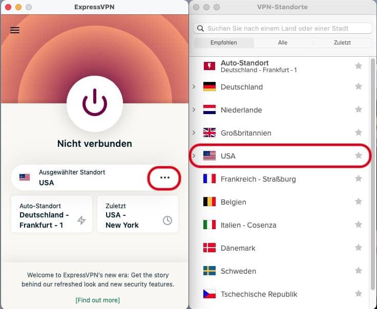 ExpressVPN Standort USA Nicht Verbunden