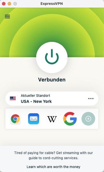 Hulu in Deutschland schauen – VPN-Verbindung aktiv mit der ExpressVPN-App