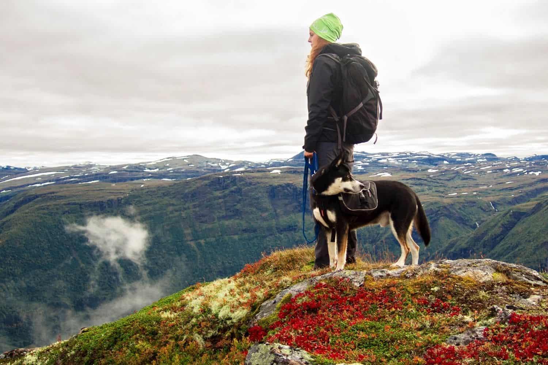 Nachhaltig Reisen Berge Frau mit Hund