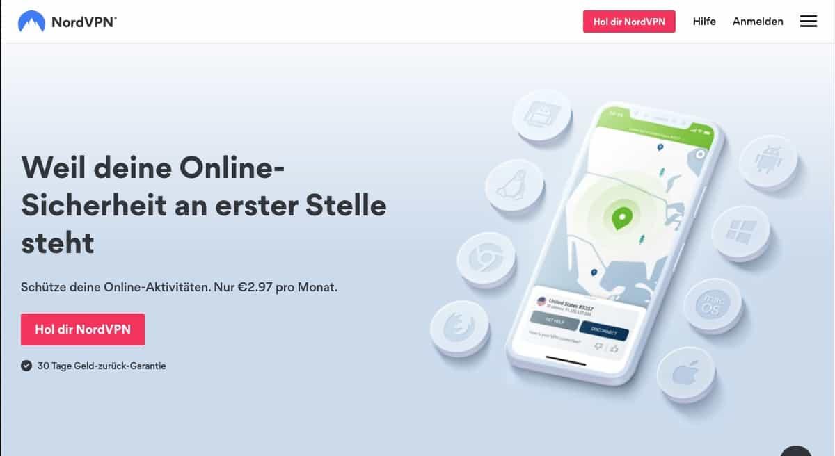 NordVPN Homepage 2021