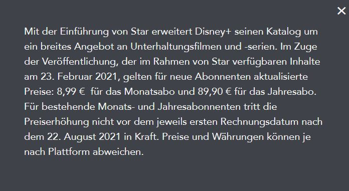 Disney Plus Star Kostendetails