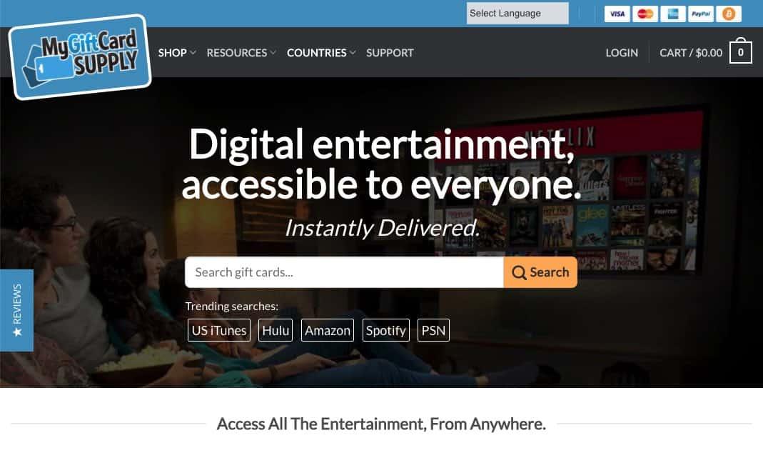 MyGiftCardSupply Homepage