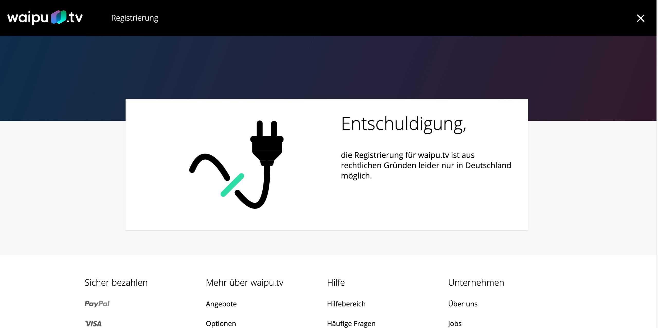 Waipu.tv Fehlermeldung
