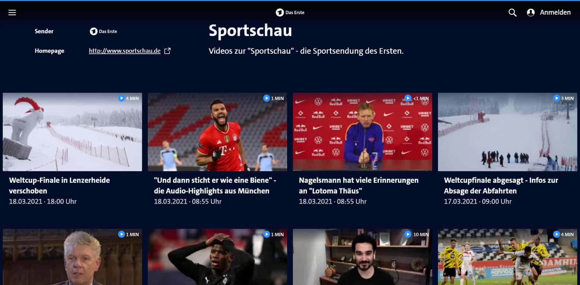 ARD Mediathek Sportschau Homeseite