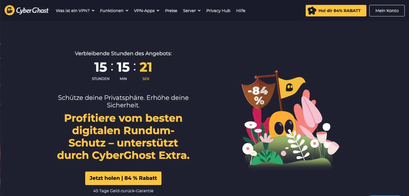 CyberGhost Homepage Angebot