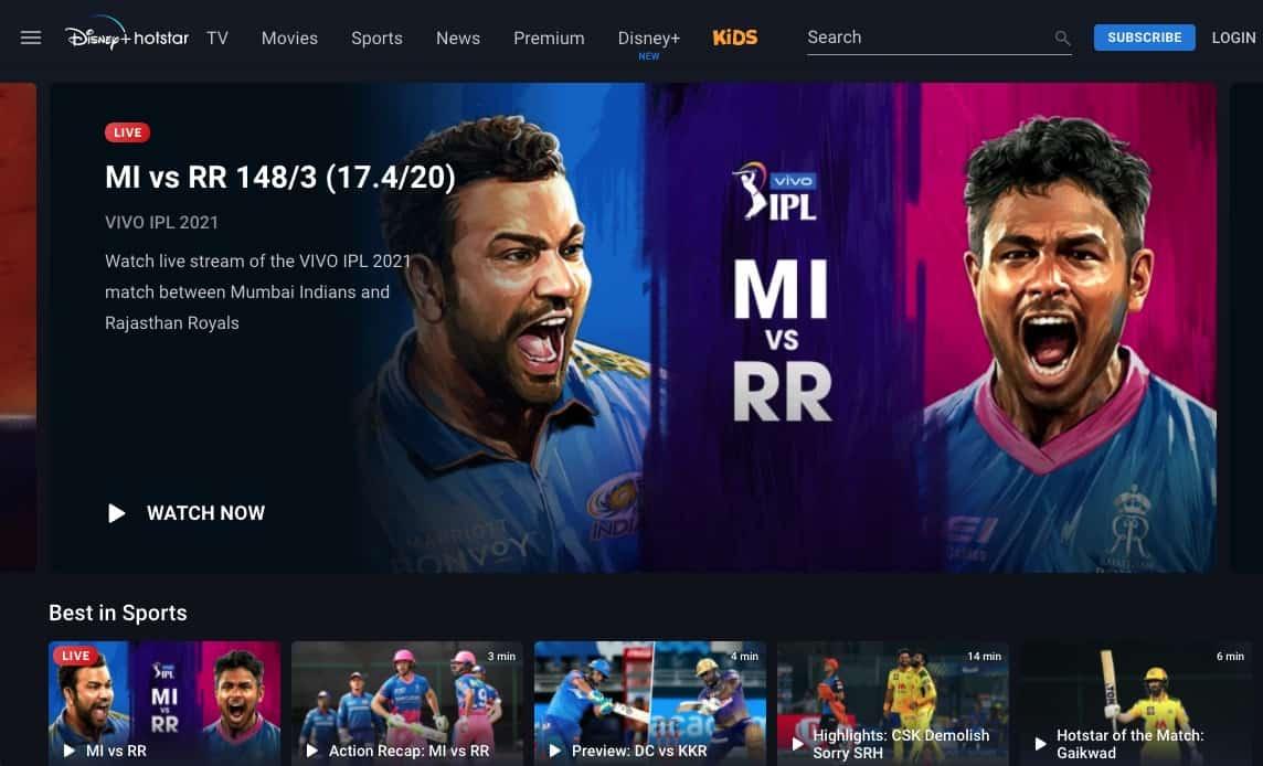Disney Hotstar Indien Mediathek Cricket