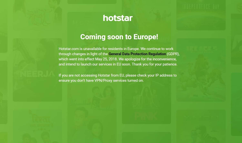 Hotstar Europa nicht Verfuegbar