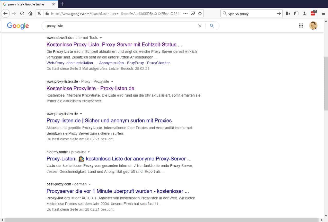Proxy Liste Google Suche